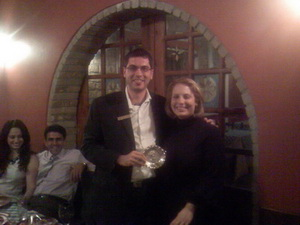 JCI Lemesos President Mrs. Mary Stephanidou presents to JCI Vice President Mr. Rami Majzoub memorable gift